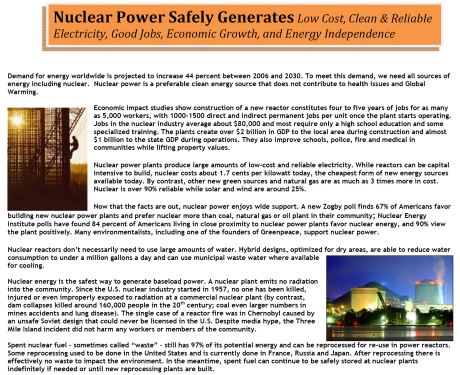 One-page handout with facts about nuclear power.